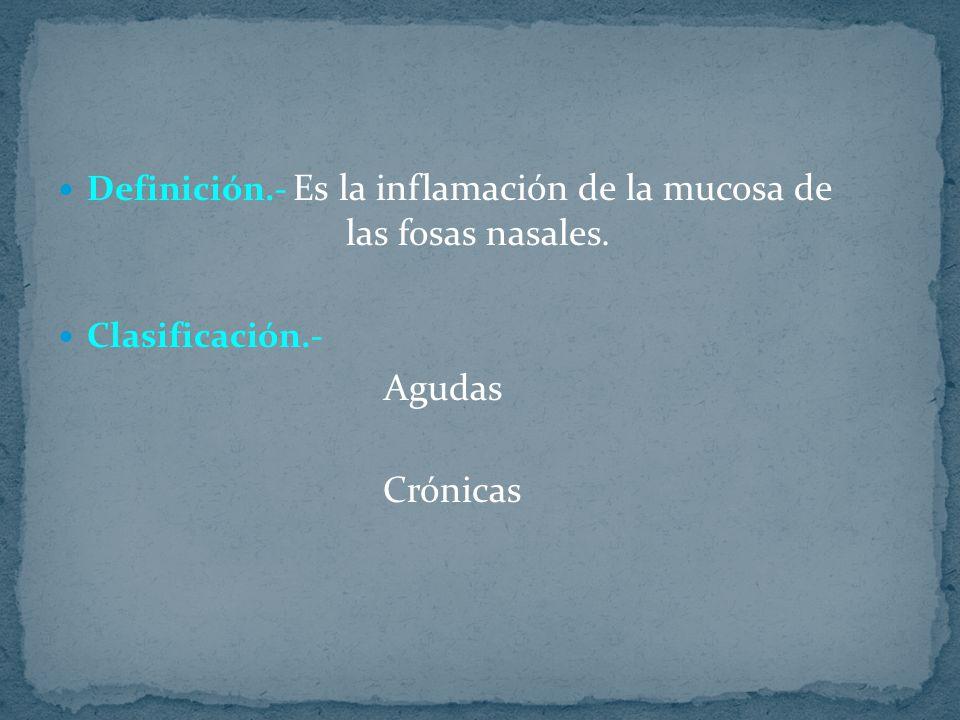 Definición.- Es la inflamación de la mucosa de las fosas nasales. Clasificación.- Agudas Crónicas
