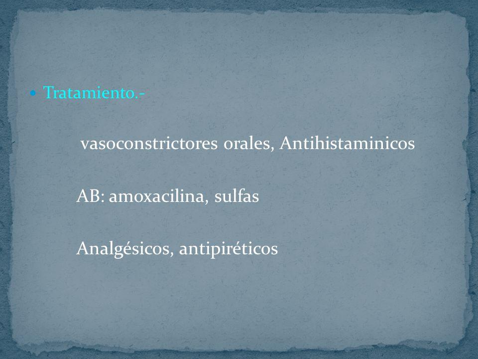 Tratamiento.- vasoconstrictores orales, Antihistaminicos AB: amoxacilina, sulfas Analgésicos, antipiréticos