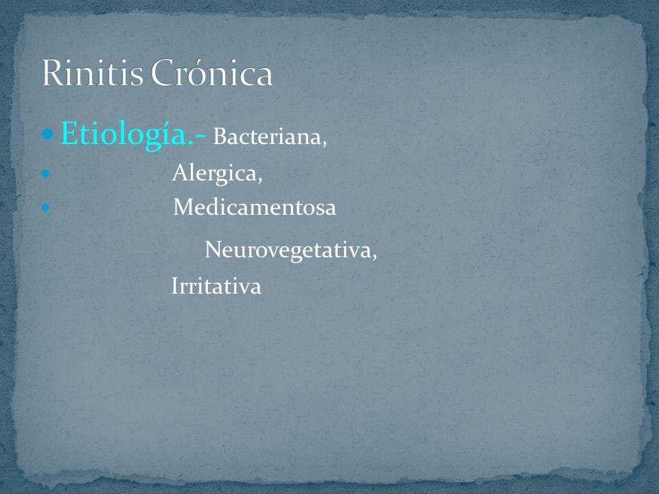 Etiología.- Bacteriana, Alergica, Medicamentosa Neurovegetativa, Irritativa