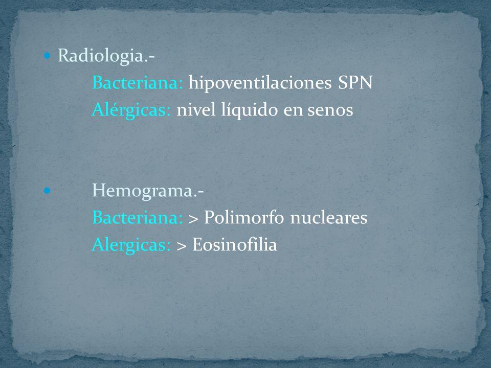 Radiologia.- Bacteriana: hipoventilaciones SPN Alérgicas: nivel líquido en senos Hemograma.- Bacteriana: > Polimorfo nucleares Alergicas: > Eosinofili
