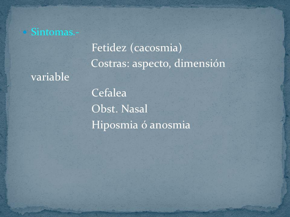 Sintomas.- Fetidez (cacosmia) Costras: aspecto, dimensión variable Cefalea Obst. Nasal Hiposmia ó anosmia