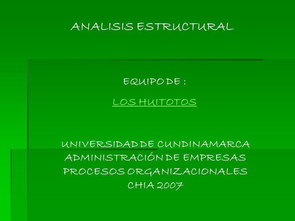 ANALISIS ESTRUCTURAL UNIVERSIDAD DE CUNDINAMARCA ADMINISTRACIÓN DE EMPRESAS PROCESOS ORGANIZACIONALES CHIA 2007 EQUIPO DE : LOS HUITOTOS