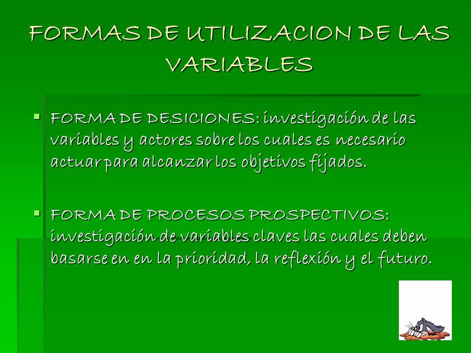 FORMAS DE UTILIZACION DE LAS VARIABLES FORMA DE DESICIONES: investigación de las variables y actores sobre los cuales es necesario actuar para alcanza