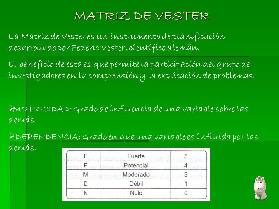 La Matriz de Vester es un instrumento de planificación desarrollado por Federic Vester, científico alemán. El beneficio de esta es que permite la part