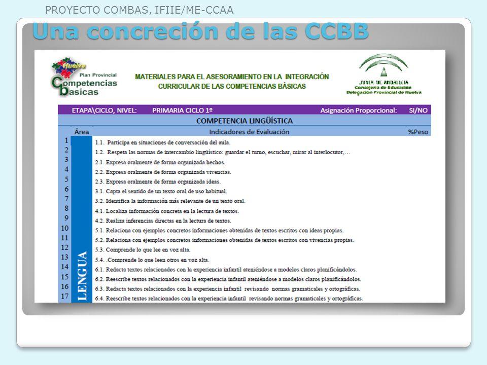 Una concreción de las CCBB PROYECTO COMBAS, IFIIE/ME-CCAA
