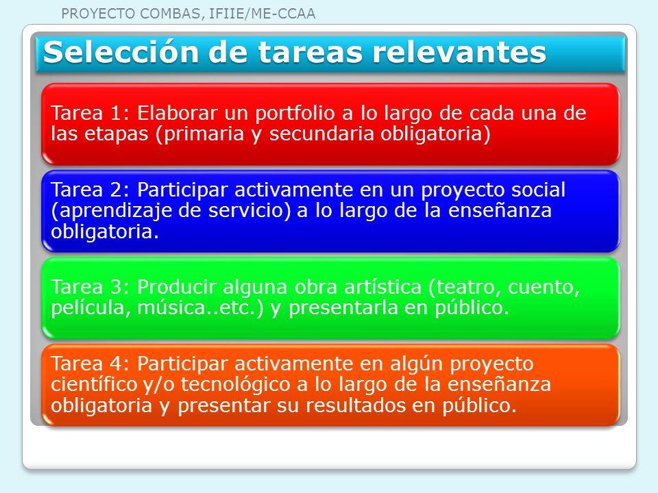 Tarea 1: Elaborar un portfolio a lo largo de cada una de las etapas (primaria y secundaria obligatoria) Tarea 2: Participar activamente en un proyecto