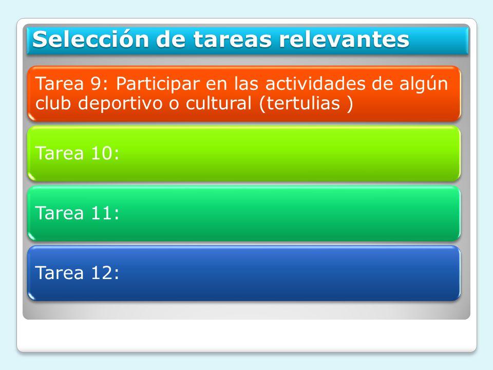 Tarea 9: Participar en las actividades de algún club deportivo o cultural (tertulias ) Tarea 10:Tarea 11: Tarea 12: Selección de tareas relevantes