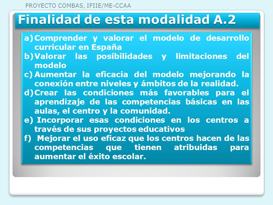 Finalidad de esta modalidad A.2 a)Comprender y valorar el modelo de desarrollo curricular en España b)Valorar las posibilidades y limitaciones del mod