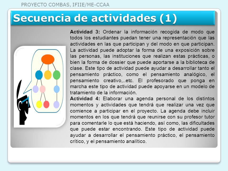 Actividad 3: Ordenar la información recogida de modo que todos los estudiantes puedan tener una representación que las actividades en las que particip