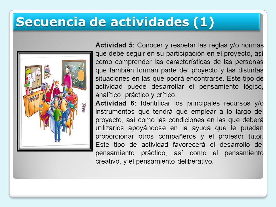 Actividad 5: Conocer y respetar las reglas y/o normas que debe seguir en su participación en el proyecto, así como comprender las características de l