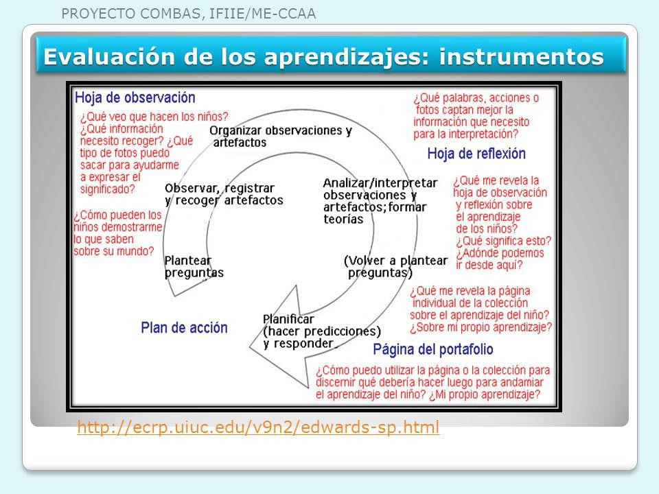 Evaluación de los aprendizajes: instrumentos http://ecrp.uiuc.edu/v9n2/edwards-sp.html PROYECTO COMBAS, IFIIE/ME-CCAA
