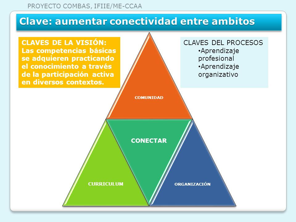 COMUNIDAD CURRICULUM CONECTAR ORGANIZACIÓN CLAVES DEL PROCESOS Aprendizaje profesional Aprendizaje organizativo CLAVES DE LA VISIÓN: Las competencias