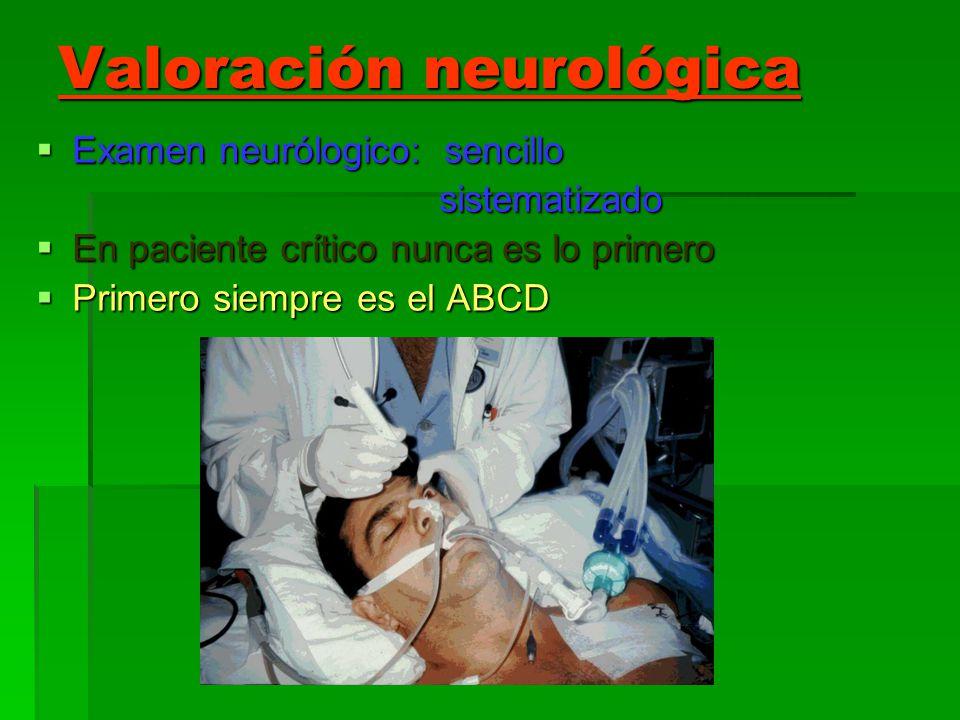 Valoración neurológica Examen neurólogico: sencillo Examen neurólogico: sencillo sistematizado sistematizado En paciente crítico nunca es lo primero E