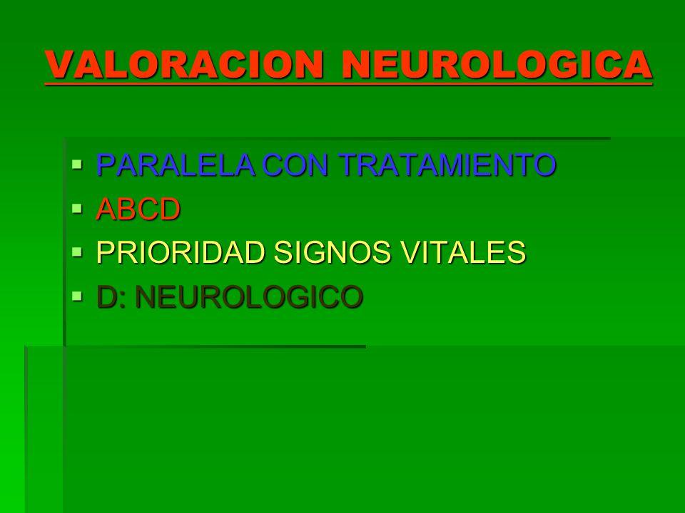 VALORACION NEUROLOGICA PARALELA CON TRATAMIENTO PARALELA CON TRATAMIENTO ABCD ABCD PRIORIDAD SIGNOS VITALES PRIORIDAD SIGNOS VITALES D: NEUROLOGICO D: