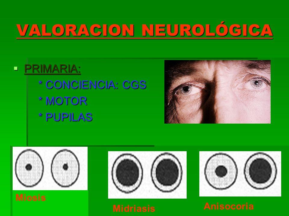 VALORACION NEUROLÓGICA PRIMARIA: PRIMARIA: * CONCIENCIA: CGS * CONCIENCIA: CGS * MOTOR * MOTOR * PUPILAS * PUPILAS Miosis Midriasis Anisocoria