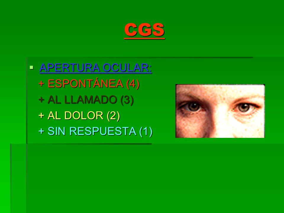 CGS APERTURA OCULAR: APERTURA OCULAR: + ESPONTÁNEA (4) + ESPONTÁNEA (4) + AL LLAMADO (3) + AL LLAMADO (3) + AL DOLOR (2) + AL DOLOR (2) + SIN RESPUEST