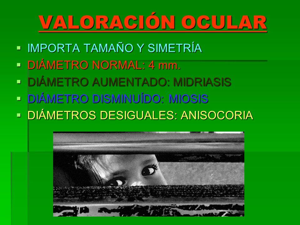 VALORACIÓN OCULAR IMPORTA TAMAÑO Y SIMETRÍA IMPORTA TAMAÑO Y SIMETRÍA DIÁMETRO NORMAL: 4 mm. DIÁMETRO NORMAL: 4 mm. DIÁMETRO AUMENTADO: MIDRIASIS DIÁM
