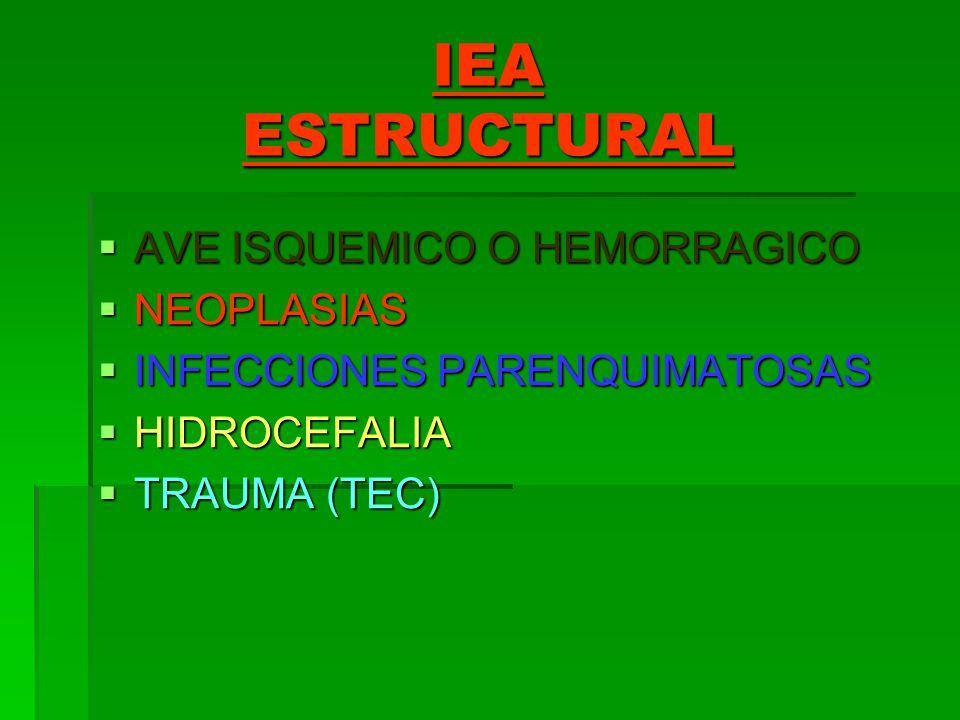 IEA ESTRUCTURAL AVE ISQUEMICO O HEMORRAGICO AVE ISQUEMICO O HEMORRAGICO NEOPLASIAS NEOPLASIAS INFECCIONES PARENQUIMATOSAS INFECCIONES PARENQUIMATOSAS