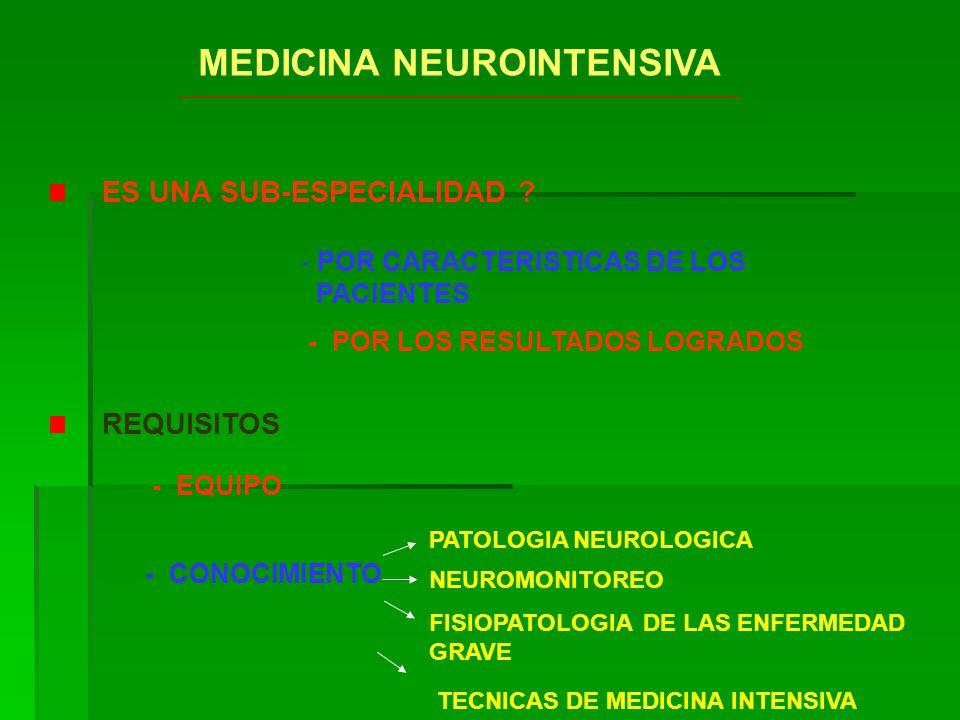 MEDICINA NEUROINTENSIVA REQUISITOS - EQUIPO FISIOPATOLOGIA DE LAS ENFERMEDAD GRAVE - POR LOS RESULTADOS LOGRADOS ES UNA SUB-ESPECIALIDAD ? - POR CARAC