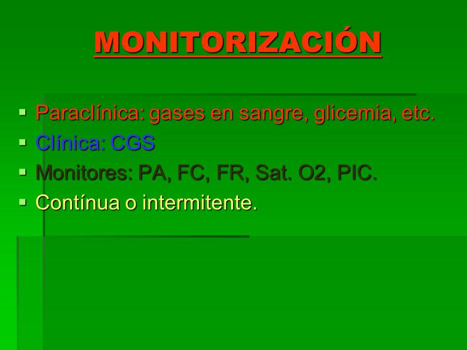 MONITORIZACIÓN Paraclínica: gases en sangre, glicemia, etc. Paraclínica: gases en sangre, glicemia, etc. Clínica: CGS Clínica: CGS Monitores: PA, FC,