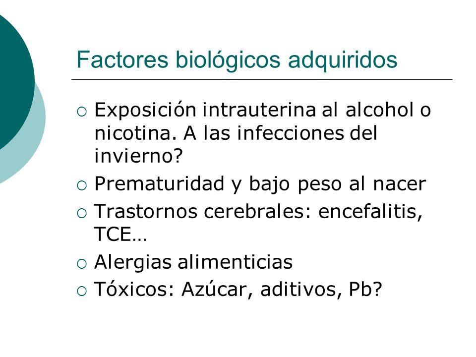Factores biológicos adquiridos Exposición intrauterina al alcohol o nicotina. A las infecciones del invierno? Prematuridad y bajo peso al nacer Trasto