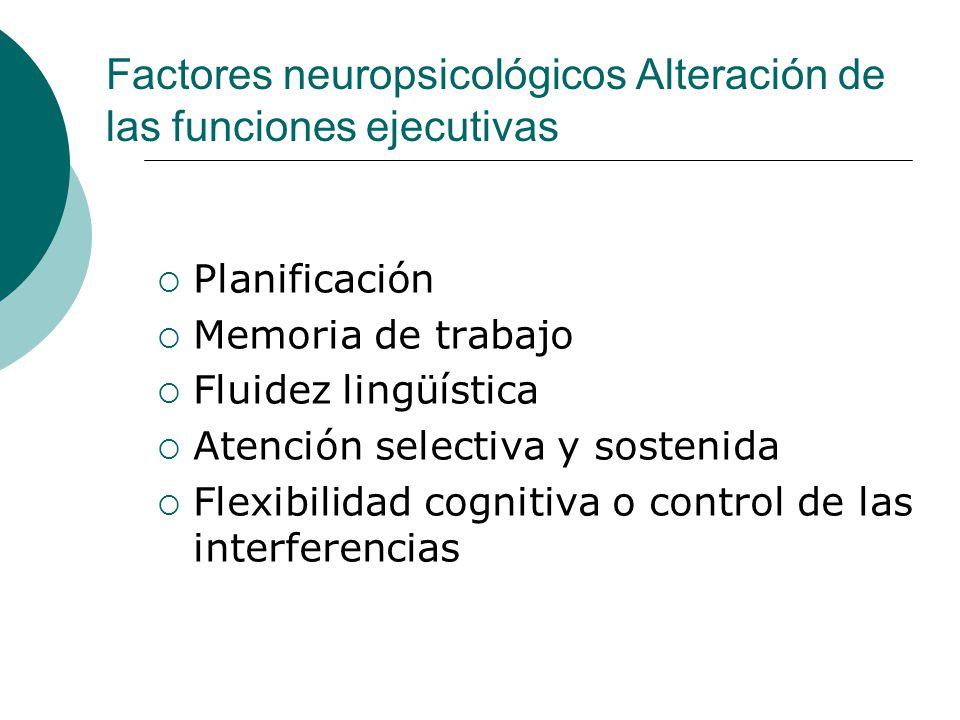 Factores neuropsicológicos Alteración de las funciones ejecutivas Planificación Memoria de trabajo Fluidez lingüística Atención selectiva y sostenida