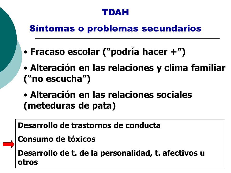 TDAH Síntomas o problemas secundarios Fracaso escolar (podría hacer +) Alteración en las relaciones y clima familiar (no escucha) Alteración en las re