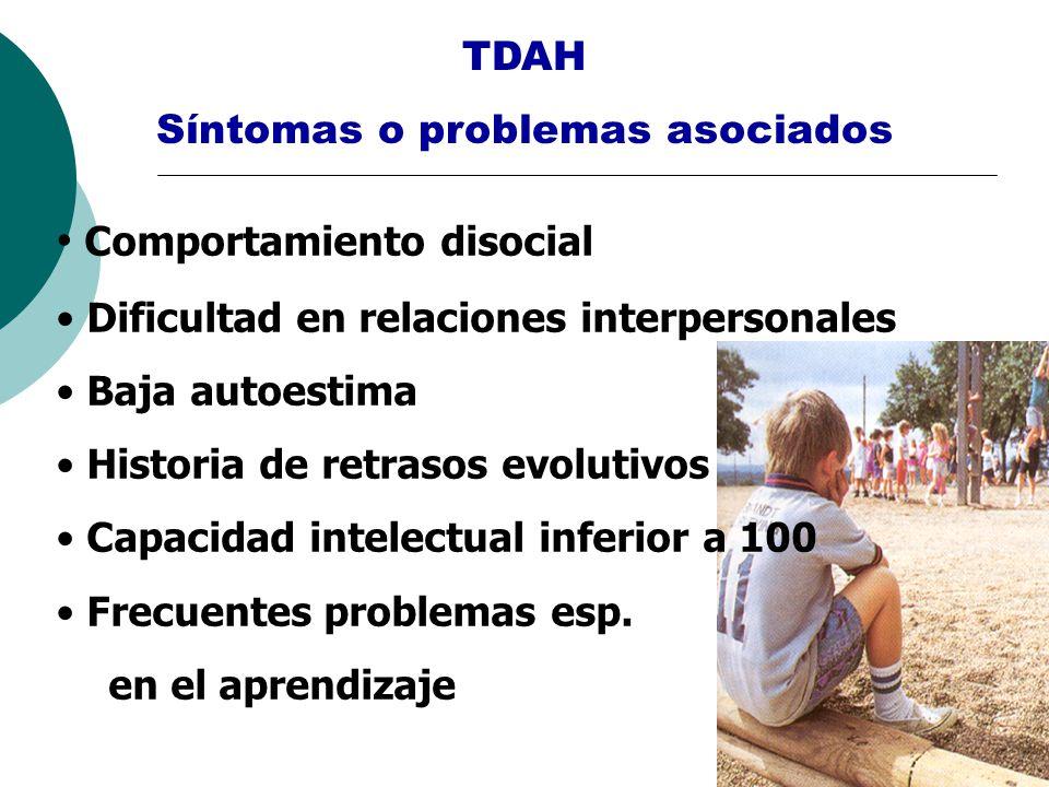 TDAH Síntomas o problemas asociados Comportamiento disocial Dificultad en relaciones interpersonales Baja autoestima Historia de retrasos evolutivos C