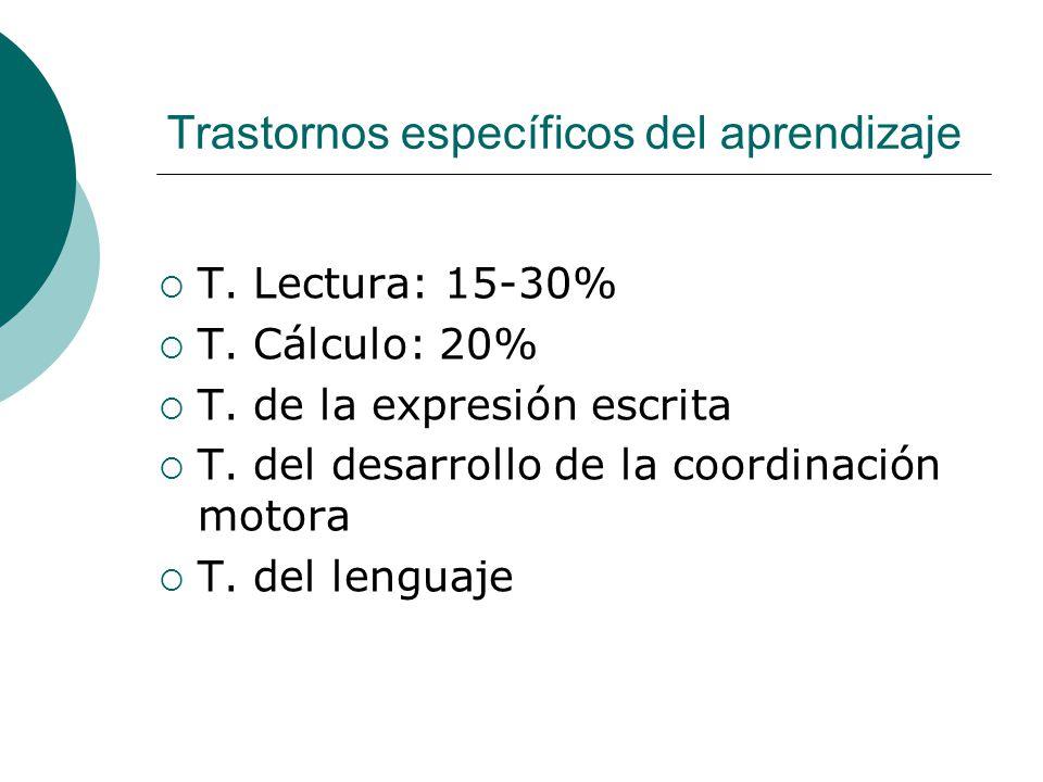 Trastornos específicos del aprendizaje T. Lectura: 15-30% T. Cálculo: 20% T. de la expresión escrita T. del desarrollo de la coordinación motora T. de