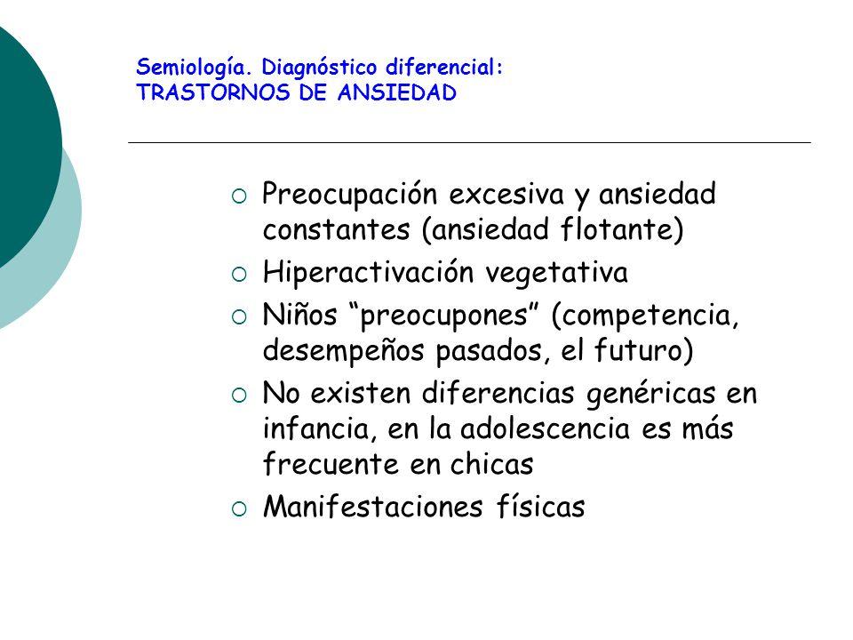 Semiología. Diagnóstico diferencial: TRASTORNOS DE ANSIEDAD Preocupación excesiva y ansiedad constantes (ansiedad flotante) Hiperactivación vegetativa