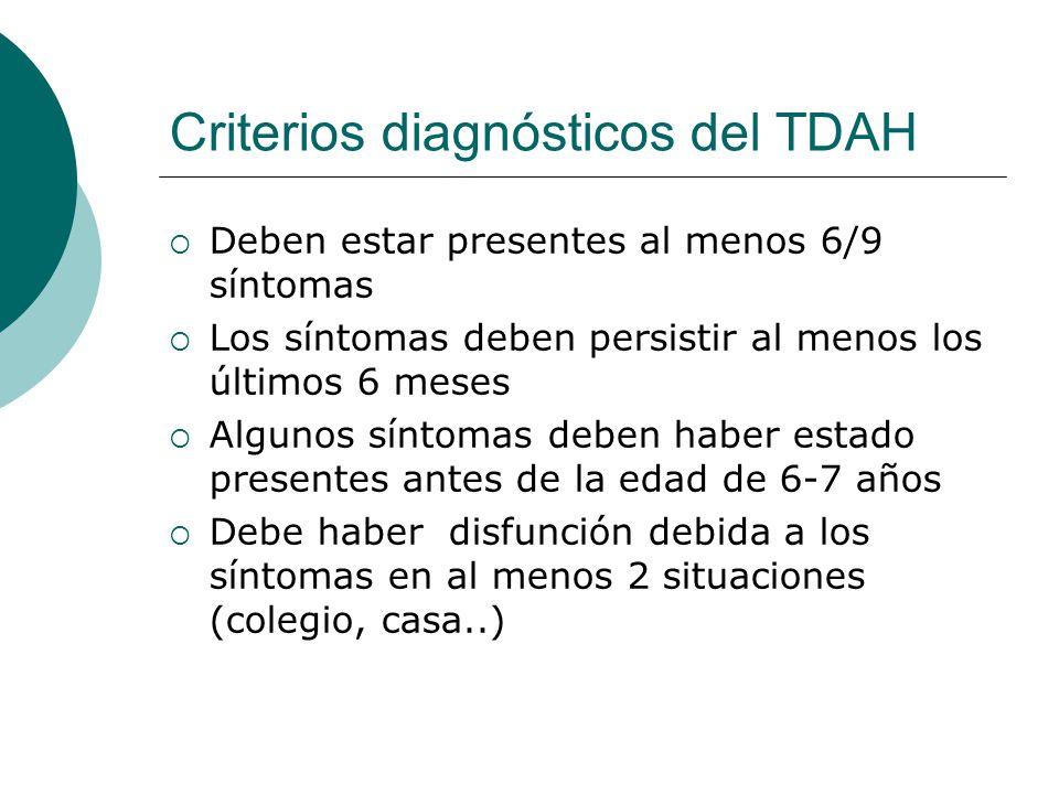 Criterios diagnósticos del TDAH Deben estar presentes al menos 6/9 síntomas Los síntomas deben persistir al menos los últimos 6 meses Algunos síntomas
