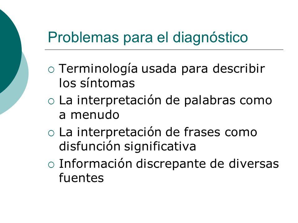 Problemas para el diagnóstico Terminología usada para describir los síntomas La interpretación de palabras como a menudo La interpretación de frases c