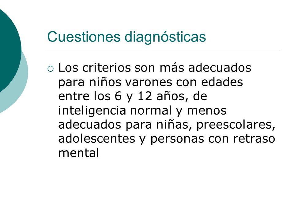 Cuestiones diagnósticas Los criterios son más adecuados para niños varones con edades entre los 6 y 12 años, de inteligencia normal y menos adecuados