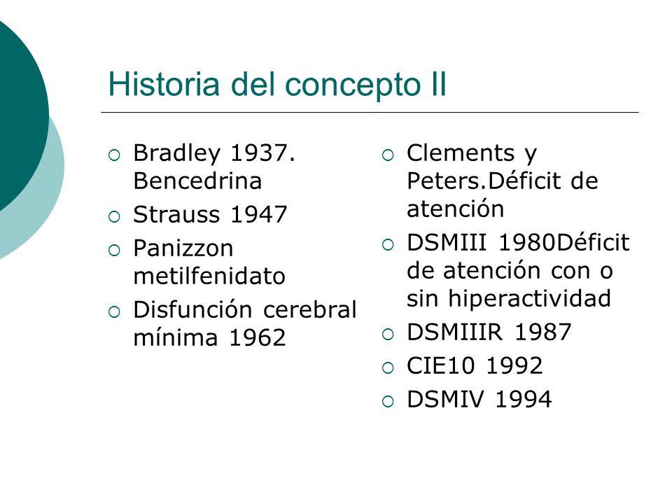 Historia del concepto II Bradley 1937. Bencedrina Strauss 1947 Panizzon metilfenidato Disfunción cerebral mínima 1962 Clements y Peters.Déficit de ate