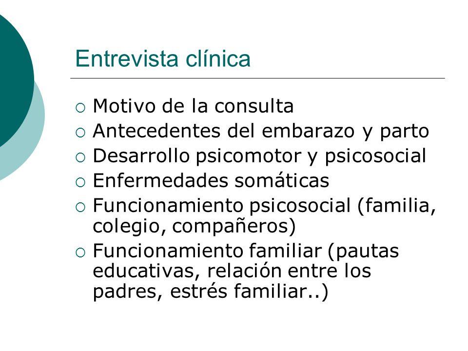 Entrevista clínica Motivo de la consulta Antecedentes del embarazo y parto Desarrollo psicomotor y psicosocial Enfermedades somáticas Funcionamiento p