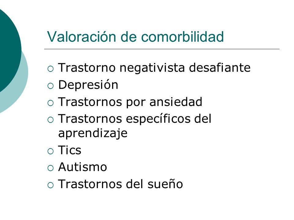 Valoración de comorbilidad Trastorno negativista desafiante Depresión Trastornos por ansiedad Trastornos específicos del aprendizaje Tics Autismo Tras