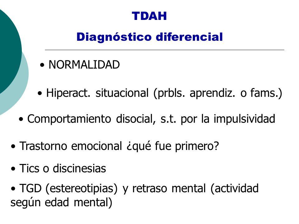 TDAH Diagnóstico diferencial NORMALIDAD Hiperact. situacional (prbls. aprendiz. o fams.) Comportamiento disocial, s.t. por la impulsividad Trastorno e