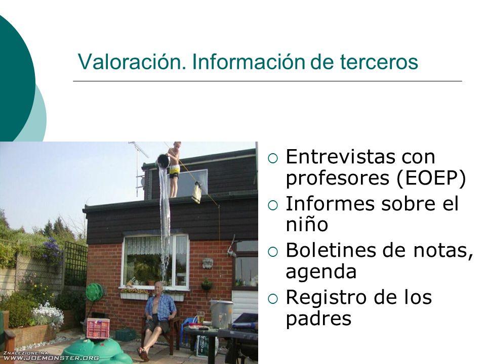 Valoración. Información de terceros Entrevistas con profesores (EOEP) Informes sobre el niño Boletines de notas, agenda Registro de los padres