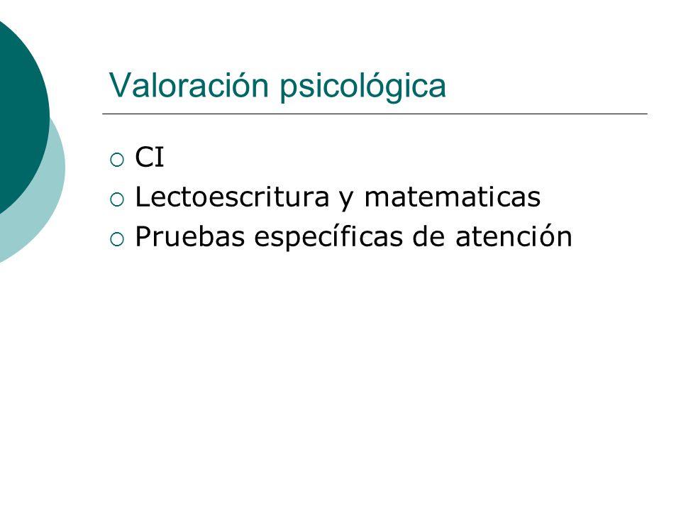 Valoración psicológica CI Lectoescritura y matematicas Pruebas específicas de atención