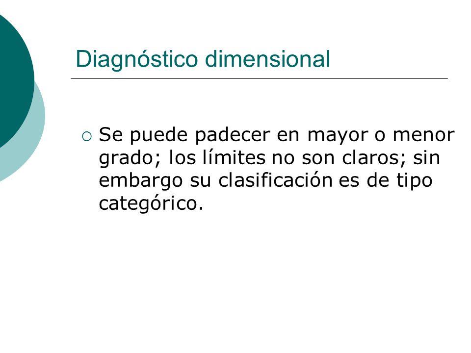Diagnóstico dimensional Se puede padecer en mayor o menor grado; los límites no son claros; sin embargo su clasificación es de tipo categórico.