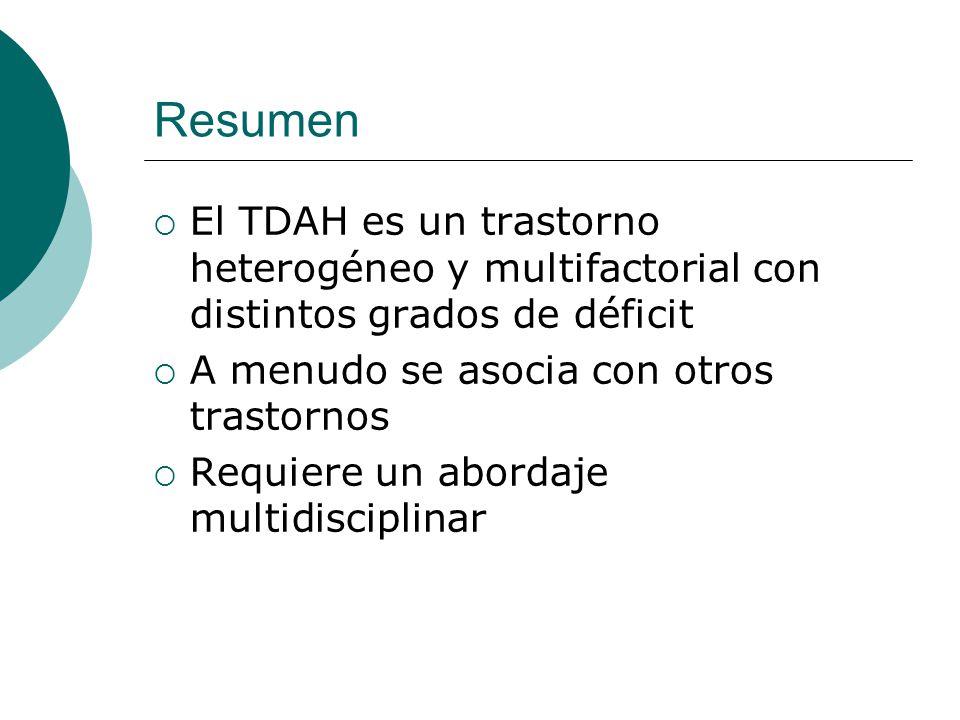 Resumen El TDAH es un trastorno heterogéneo y multifactorial con distintos grados de déficit A menudo se asocia con otros trastornos Requiere un abord