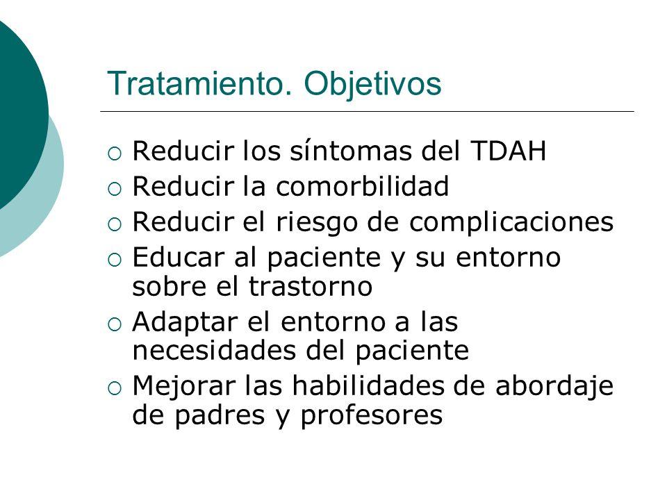 Tratamiento. Objetivos Reducir los síntomas del TDAH Reducir la comorbilidad Reducir el riesgo de complicaciones Educar al paciente y su entorno sobre