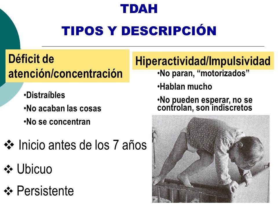 TDAH TIPOS Y DESCRIPCIÓN Déficit de atención/concentración Hiperactividad/Impulsividad Inicio antes de los 7 años Ubicuo Persistente Distraíbles No ac
