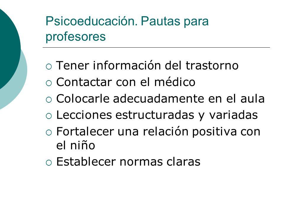 Psicoeducación. Pautas para profesores Tener información del trastorno Contactar con el médico Colocarle adecuadamente en el aula Lecciones estructura