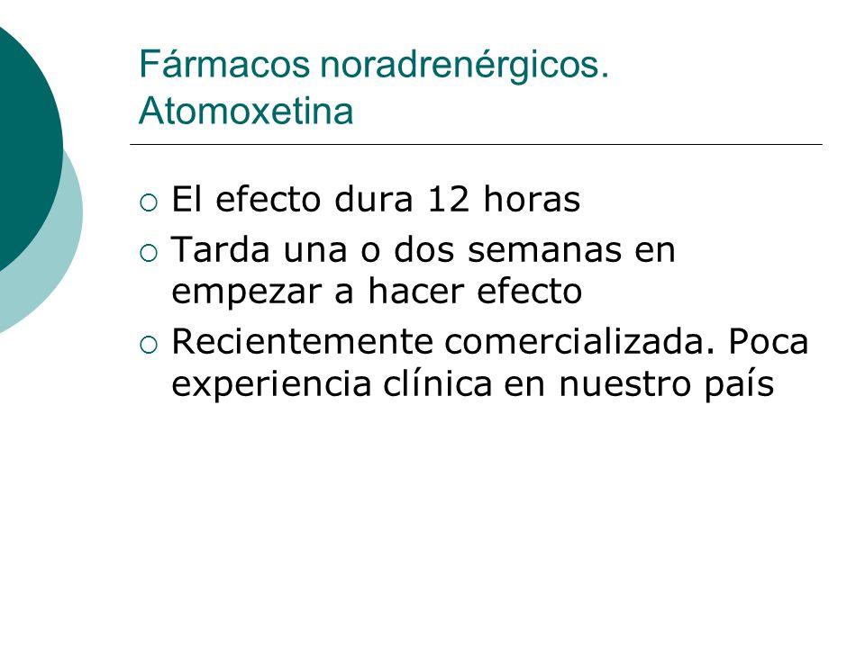 Fármacos noradrenérgicos. Atomoxetina El efecto dura 12 horas Tarda una o dos semanas en empezar a hacer efecto Recientemente comercializada. Poca exp