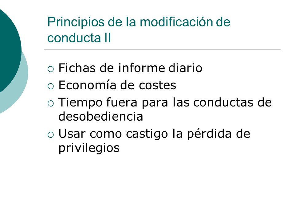 Principios de la modificación de conducta II Fichas de informe diario Economía de costes Tiempo fuera para las conductas de desobediencia Usar como ca