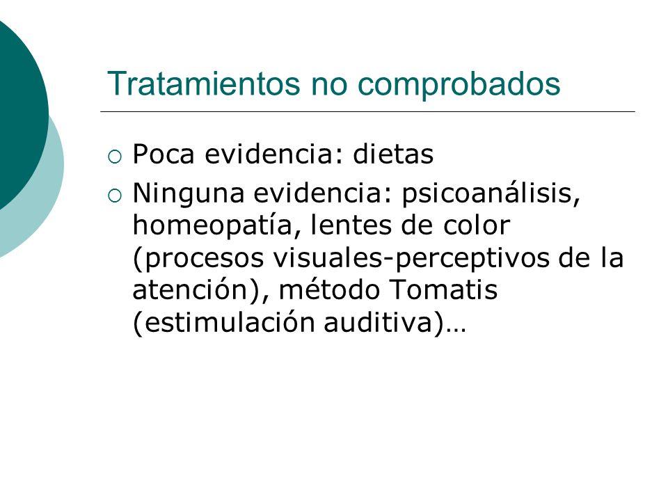 Tratamientos no comprobados Poca evidencia: dietas Ninguna evidencia: psicoanálisis, homeopatía, lentes de color (procesos visuales-perceptivos de la