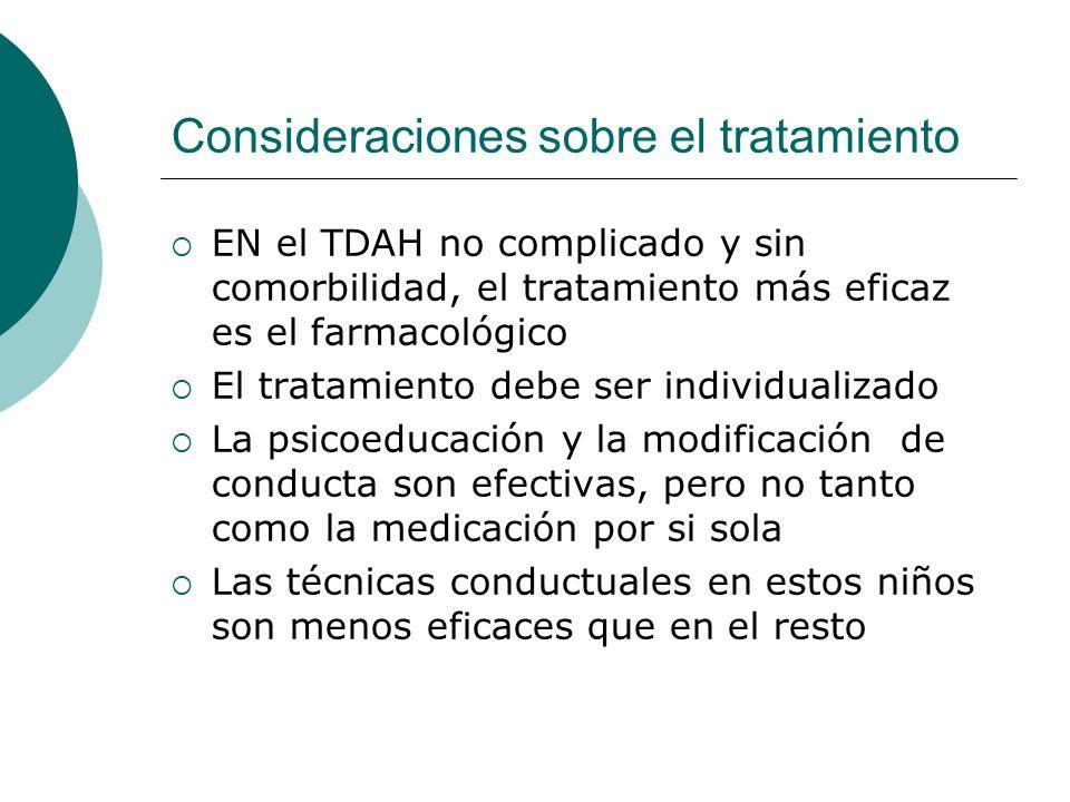 Consideraciones sobre el tratamiento EN el TDAH no complicado y sin comorbilidad, el tratamiento más eficaz es el farmacológico El tratamiento debe se