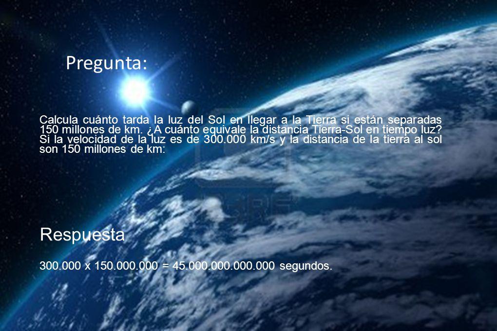 Calcula cuánto tarda la luz del Sol en llegar a la Tierra si están separadas 150 millones de km.