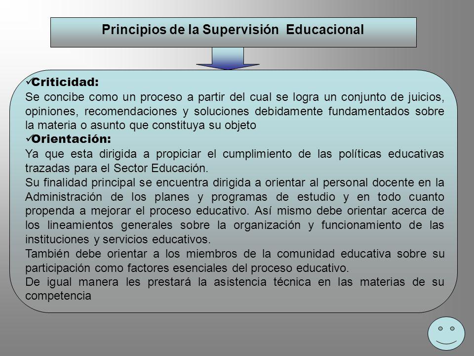Principios de la Supervisión Educacional Criticidad: Se concibe como un proceso a partir del cual se logra un conjunto de juicios, opiniones, recomend